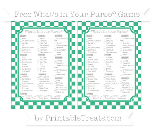 Free Mint Green Checker Pattern What's in Your Purse Baby Shower Game