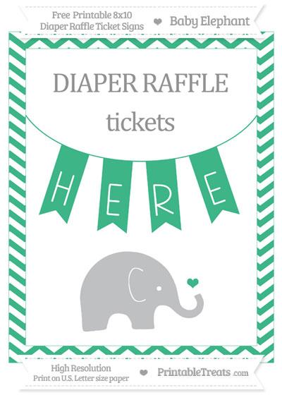 Free Mint Green Chevron Baby Elephant 8x10 Diaper Raffle Ticket Sign