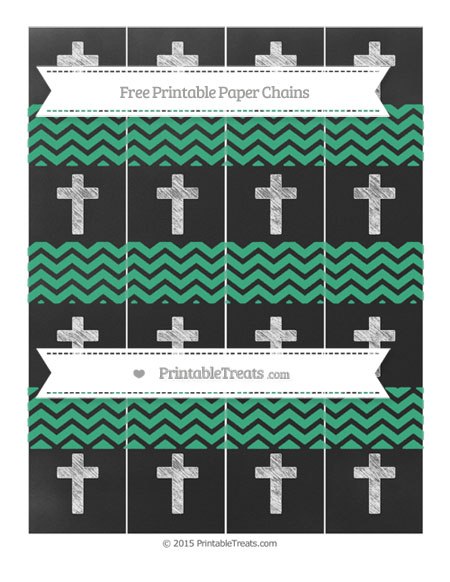 Free Mint Green Chevron Chalk Style Cross Paper Chains
