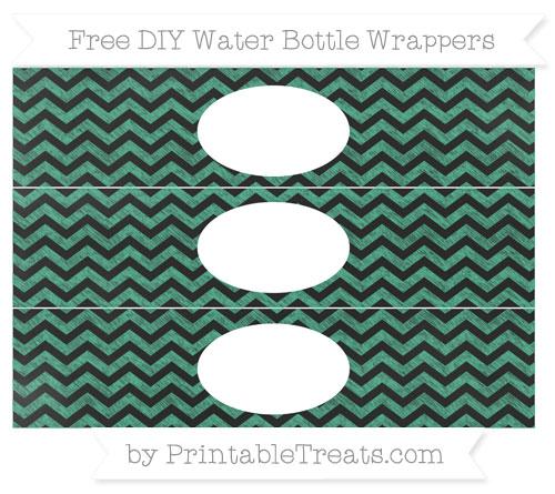Free Mint Green Chevron Chalk Style DIY Water Bottle Wrappers