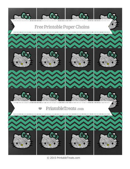 Free Mint Green Chevron Chalk Style Hello Kitty Paper Chains