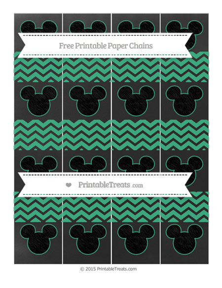 Free Mint Green Chevron Chalk Style Mickey Mouse Paper Chains