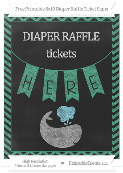 Free Mint Green Chevron Chalk Style Whale 8x10 Diaper Raffle Ticket Sign