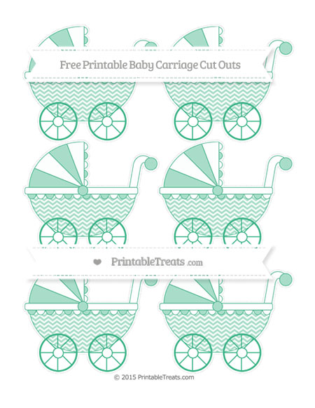 Free Mint Green Chevron Small Baby Carriage Cut Outs