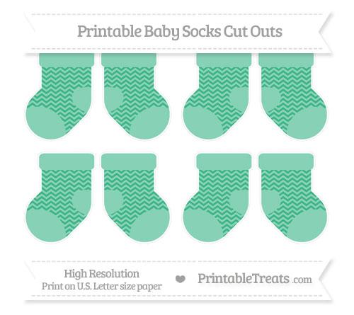Free Mint Green Chevron Small Baby Socks Cut Outs
