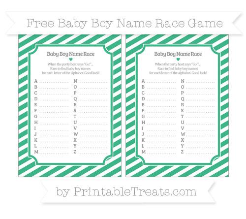 Free Mint Green Diagonal Striped Baby Boy Name Race Game