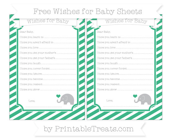 Free Mint Green Diagonal Striped Baby Elephant Wishes for Baby Sheets