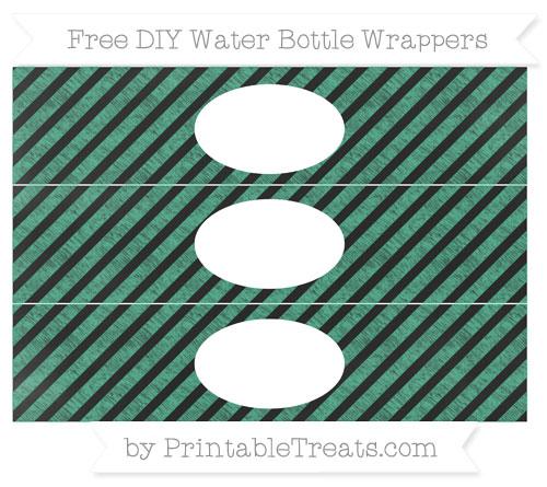 Free Mint Green Diagonal Striped Chalk Style DIY Water Bottle Wrappers