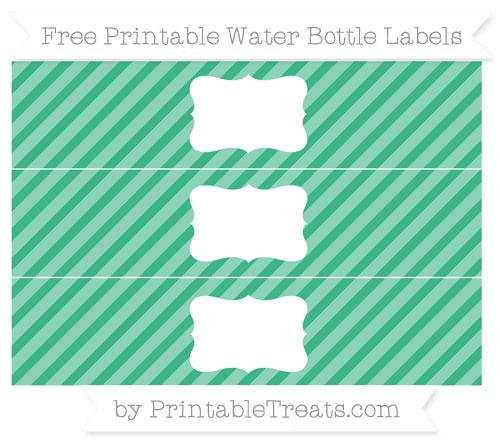 Free Mint Green Diagonal Striped Water Bottle Labels