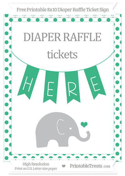 Free Mint Green Dotted Baby Elephant 8x10 Diaper Raffle Ticket Sign