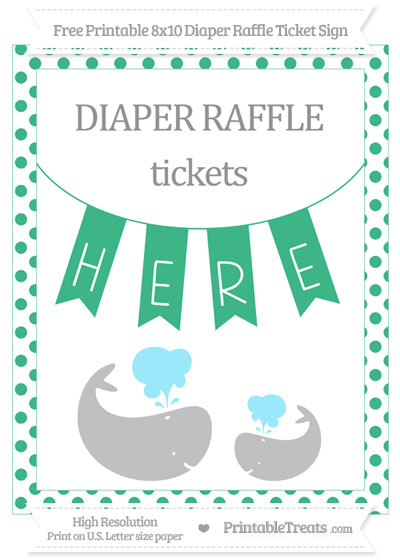 Free Mint Green Dotted Baby Whale 8x10 Diaper Raffle Ticket Sign