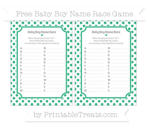 Free Mint Green Dotted Pattern Baby Boy Name Race Game