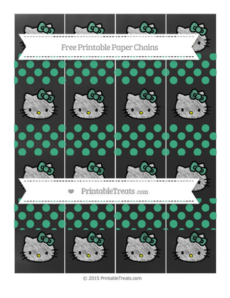 Free Mint Green Dotted Pattern Chalk Style Hello Kitty Paper Chains