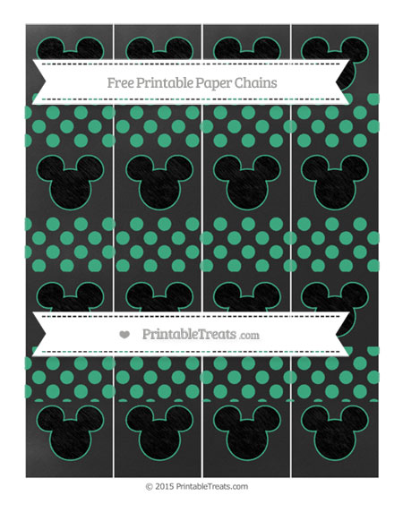 Free Mint Green Dotted Pattern Chalk Style Mickey Mouse Paper Chains