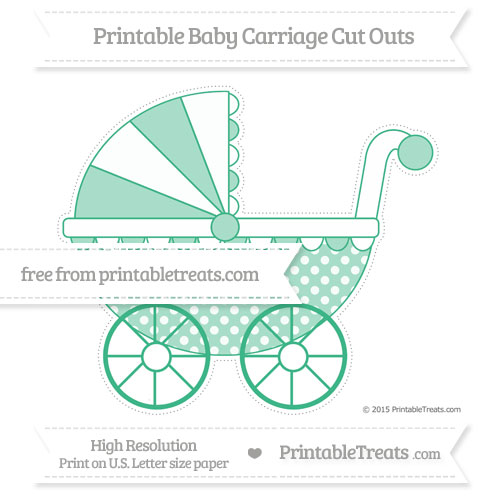 Free Mint Green Dotted Pattern Extra Large Baby Carriage Cut Outs