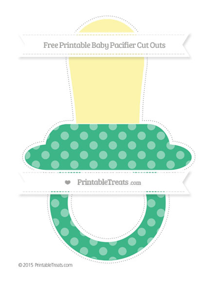 Free Mint Green Dotted Pattern Extra Large Baby Pacifier Cut Outs
