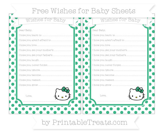 Free Mint Green Dotted Pattern Hello Kitty Wishes for Baby Sheets
