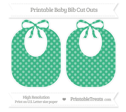 Free Mint Green Dotted Pattern Large Baby Bib Cut Outs