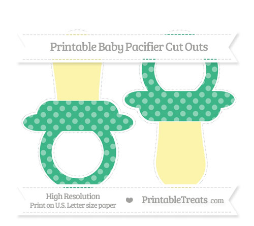 Free Mint Green Dotted Pattern Large Baby Pacifier Cut Outs