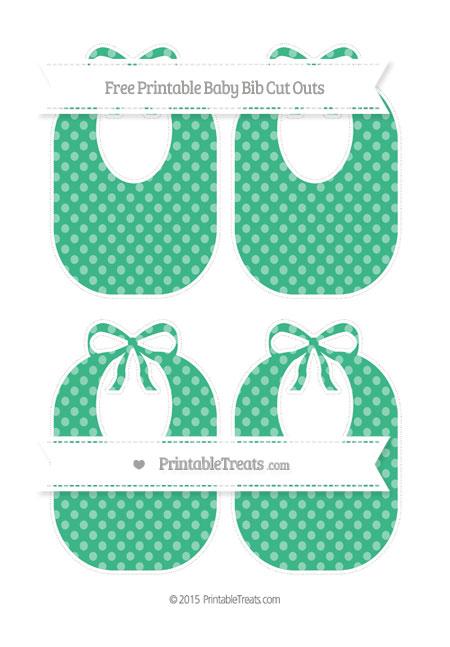 Free Mint Green Dotted Pattern Medium Baby Bib Cut Outs