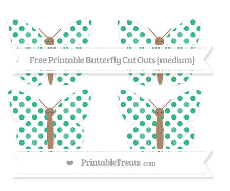 Free Mint Green Dotted Pattern Medium Butterfly Cut Outs