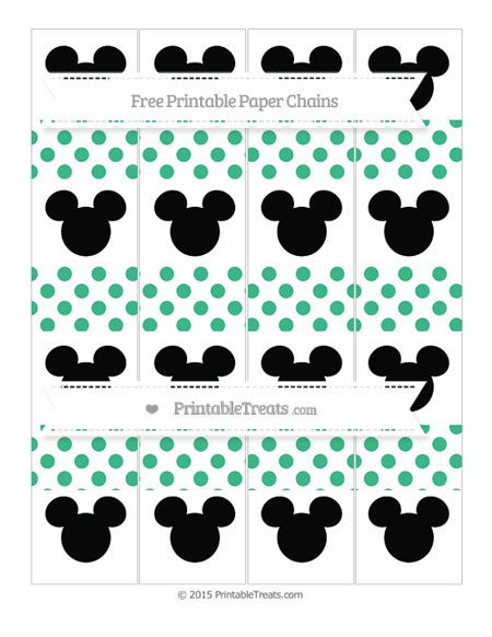 Free Mint Green Dotted Pattern Mickey Mouse Paper Chains