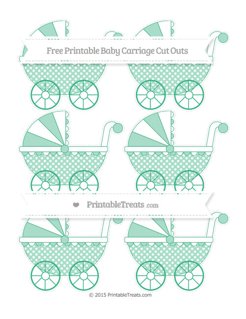 Free Mint Green Dotted Pattern Small Baby Carriage Cut Outs