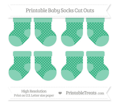 Free Mint Green Dotted Pattern Small Baby Socks Cut Outs