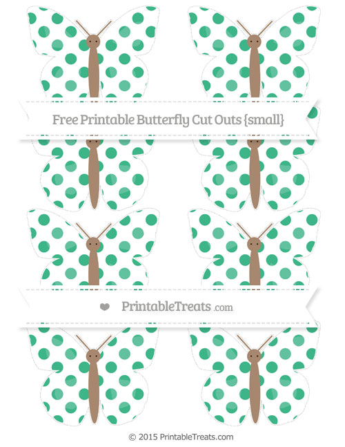 Free Mint Green Dotted Pattern Small Butterfly Cut Outs