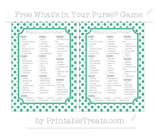 Free Mint Green Dotted Pattern What's in Your Purse Baby Shower Game