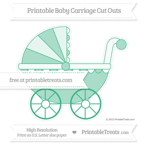 Free Mint Green Extra Large Baby Carriage Cut Outs