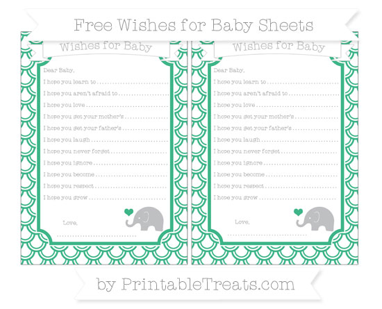 Free Mint Green Fish Scale Pattern Baby Elephant Wishes for Baby Sheets