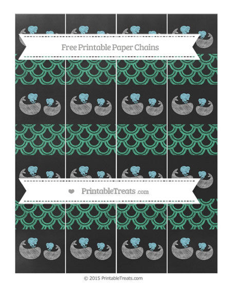 Free Mint Green Fish Scale Pattern Chalk Style Baby Whale Paper Chains