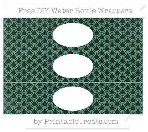 Free Mint Green Fish Scale Pattern Chalk Style DIY Water Bottle Wrappers