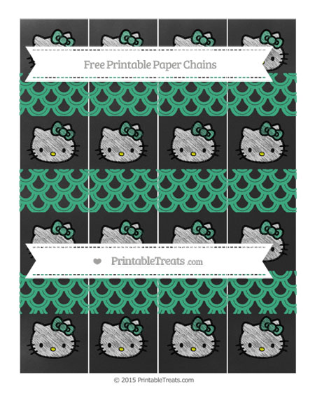 Free Mint Green Fish Scale Pattern Chalk Style Hello Kitty Paper Chains
