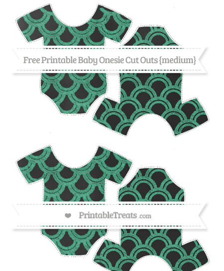Free Mint Green Fish Scale Pattern Chalk Style Medium Baby Onesie Cut Outs