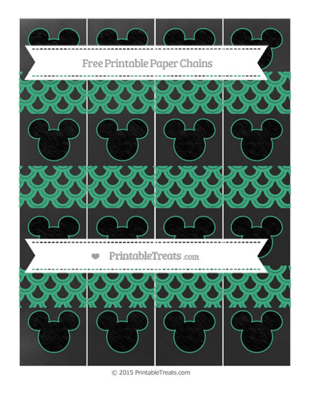 Free Mint Green Fish Scale Pattern Chalk Style Mickey Mouse Paper Chains