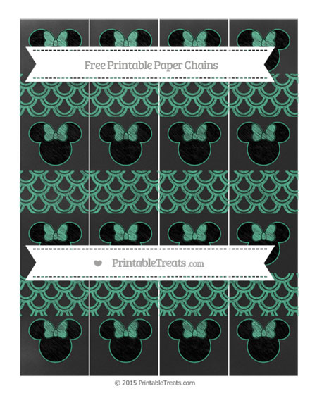 Free Mint Green Fish Scale Pattern Chalk Style Minnie Mouse Paper Chains