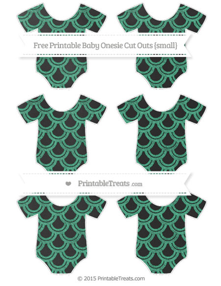 Free Mint Green Fish Scale Pattern Chalk Style Small Baby Onesie Cut Outs
