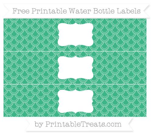Free Mint Green Fish Scale Pattern Water Bottle Labels