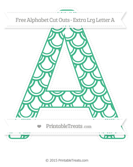 Free Mint Green Fish Scale Pattern Extra Large Capital Letter A Cut Outs