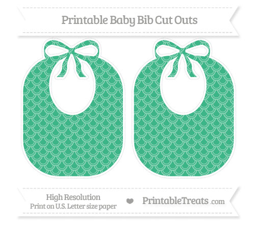 Free Mint Green Fish Scale Pattern Large Baby Bib Cut Outs