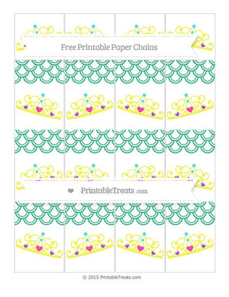 Free Mint Green Fish Scale Pattern Princess Tiara Paper Chains