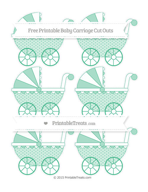 Free Mint Green Fish Scale Pattern Small Baby Carriage Cut Outs