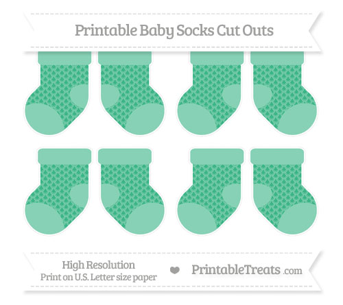 Free Mint Green Fish Scale Pattern Small Baby Socks Cut Outs