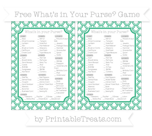 Free Mint Green Fish Scale Pattern What's in Your Purse Baby Shower Game