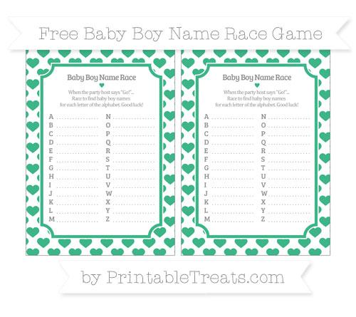 Free Mint Green Heart Pattern Baby Boy Name Race Game