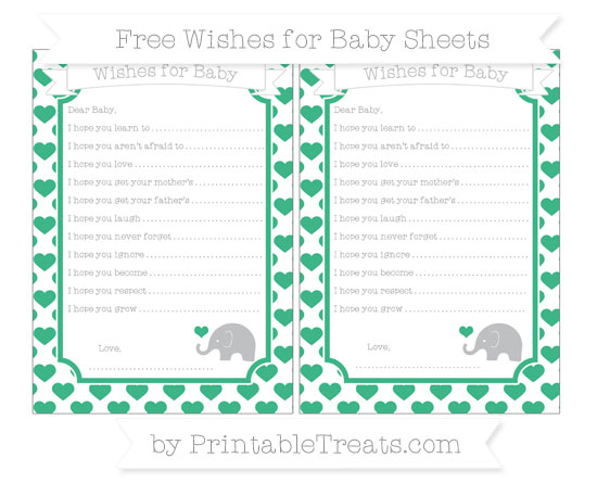 Free Mint Green Heart Pattern Baby Elephant Wishes for Baby Sheets