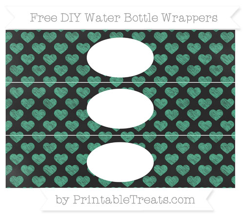 Free Mint Green Heart Pattern Chalk Style DIY Water Bottle Wrappers