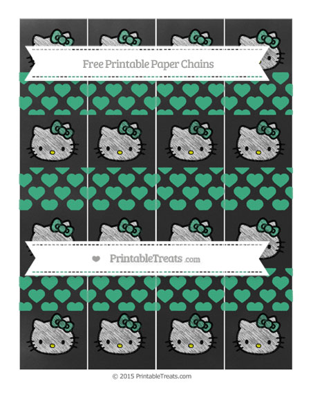 Free Mint Green Heart Pattern Chalk Style Hello Kitty Paper Chains